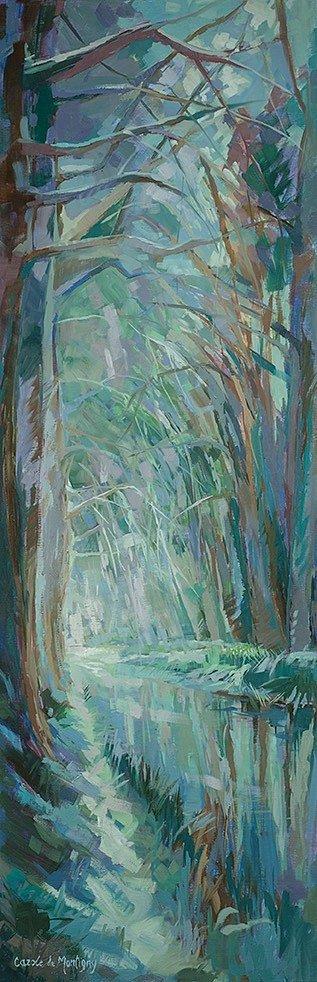 """Huile sur toile, Canal du Midi, """"Lumière d'hiver sur le Canal"""", 120x40cm, 2015"""